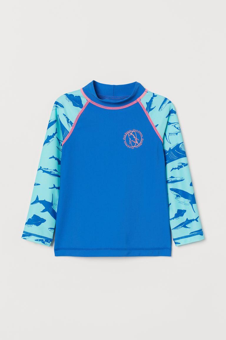 Swim top with UPF 50 - Blue/Sharks -    H&M GB