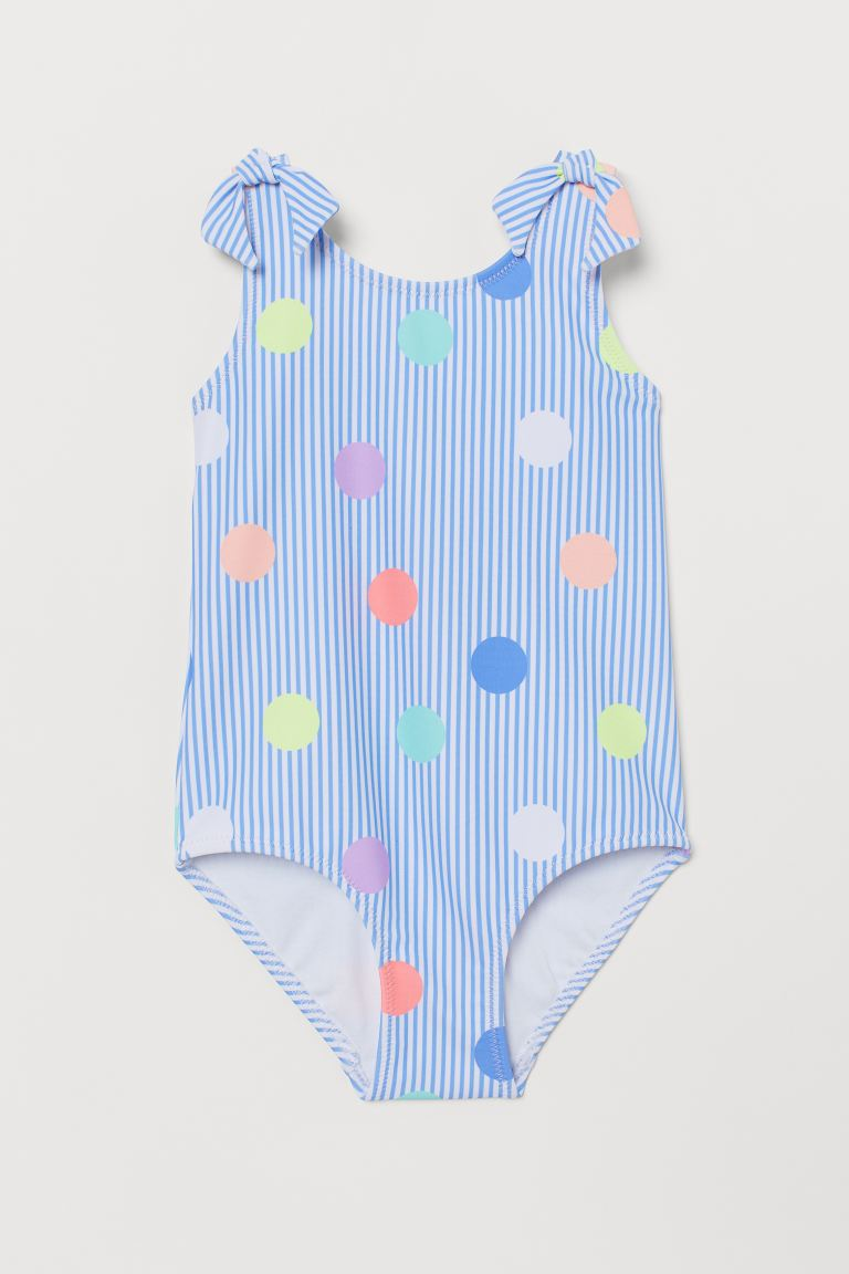 Bow-detail swimsuit - Light blue/Spotted -  | H&M