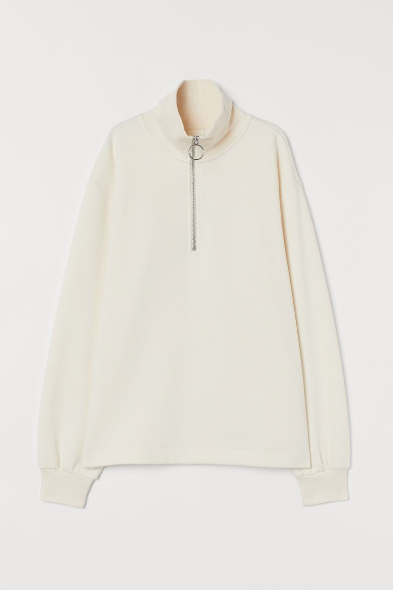 Sweatshirt with a zip - Cream - Ladies | H&M