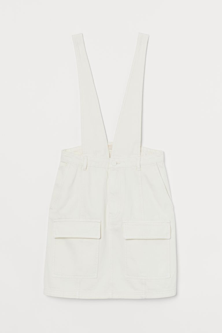 Denim Overall Dress - Natural white - Ladies | H&M US
