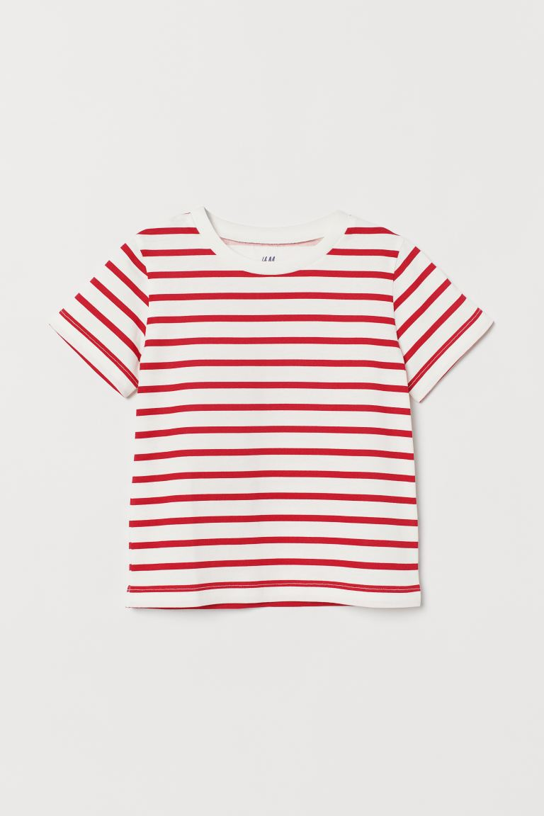Cotton T-shirt - White/Red striped - Kids | H&M IE