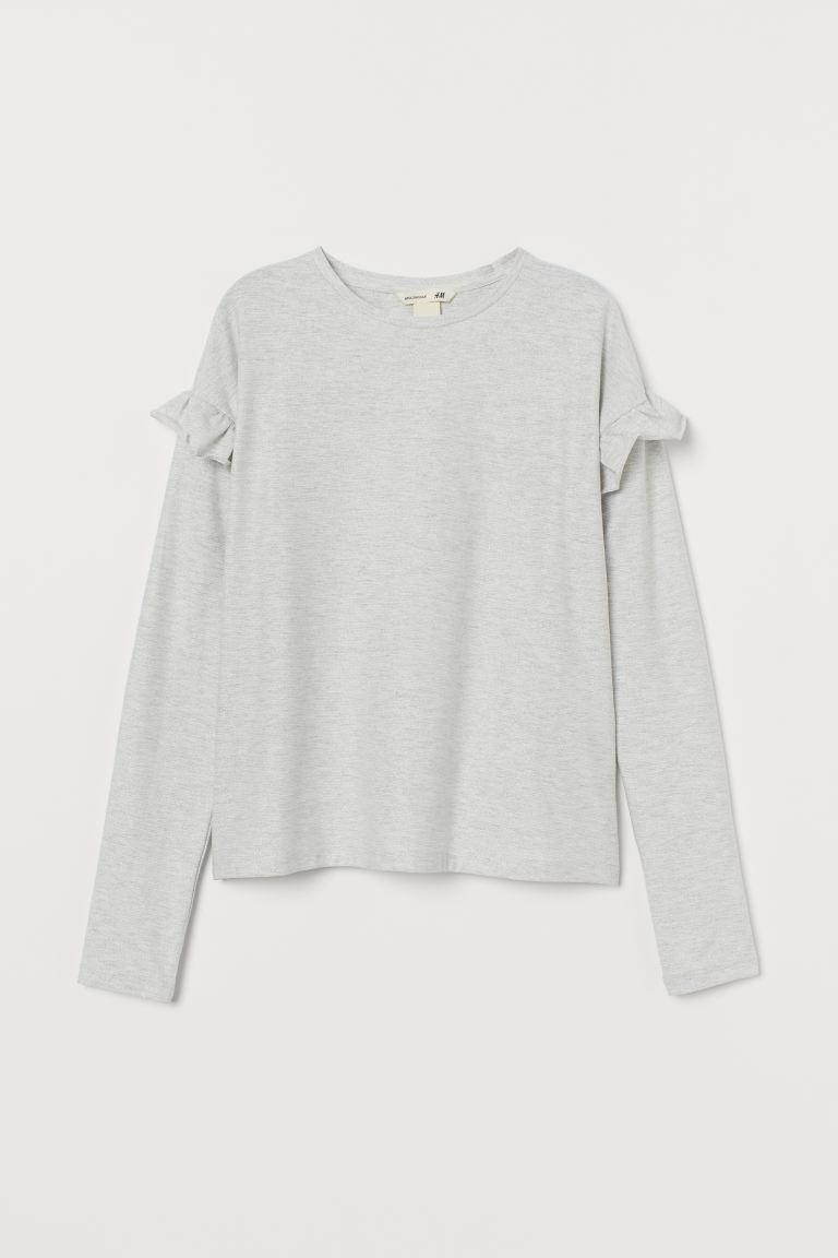 Glittery Jersey Top - Light gray - Kids | H&M US