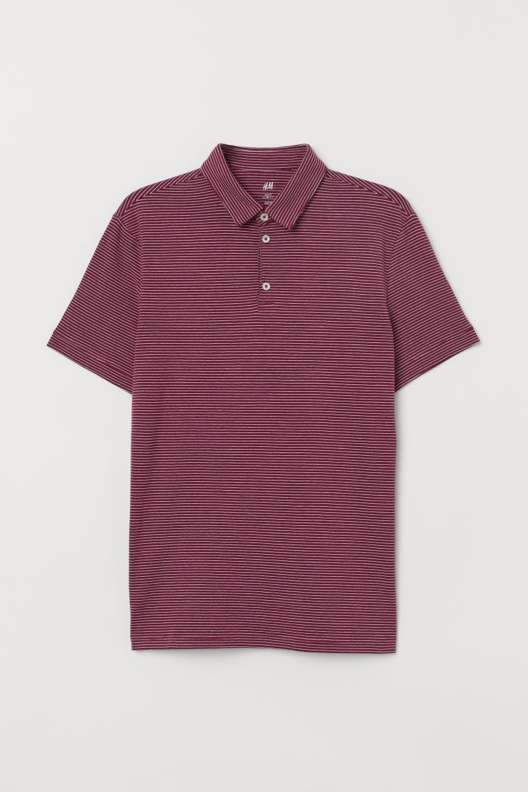 Polo shirt Slim Fit - Burgundy/White striped - Men | H&M