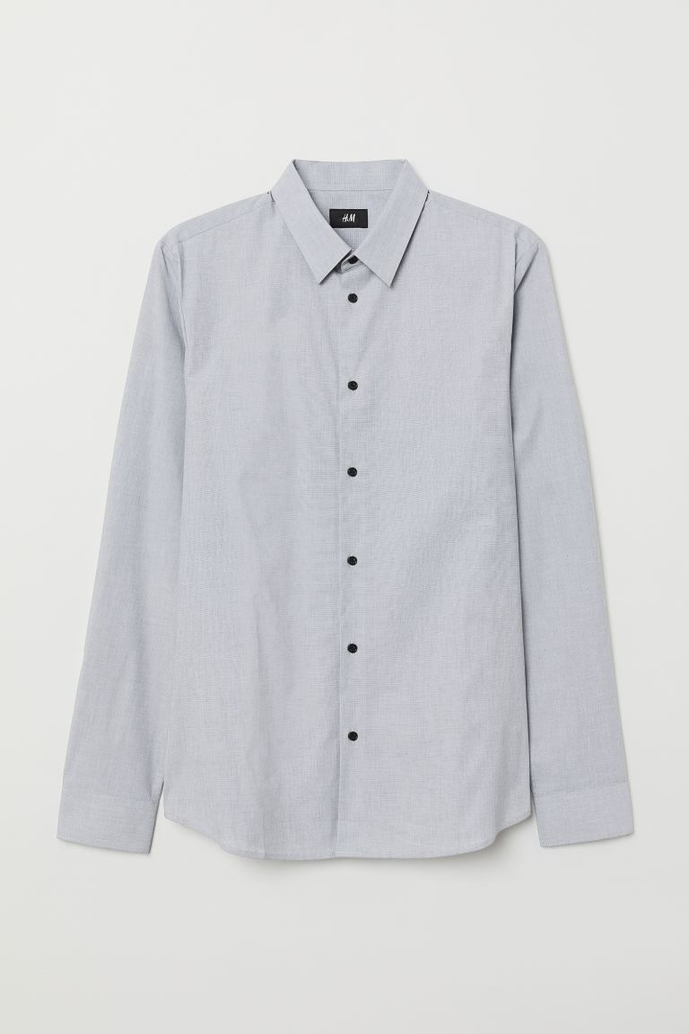Camisa Muscle Fit - Gris/Cambray - Men | H&M US