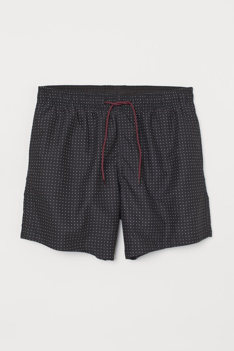Printed Swim Shorts - Black/white dotted - Men | H&M US