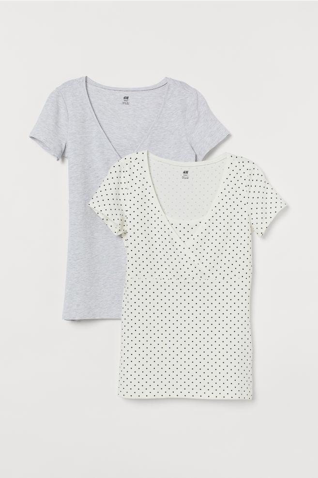 MAMA 2-pack nursing tops - White/Black spotted - Ladies | H&M 3