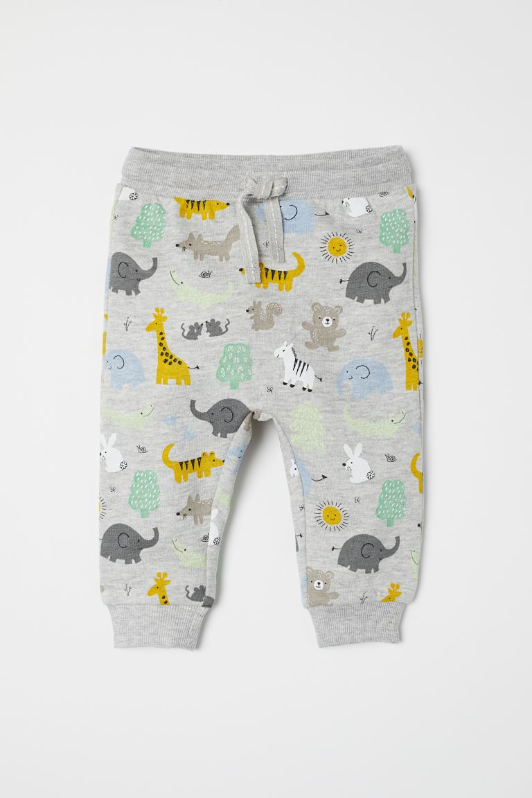 Cotton joggers - Light grey marl/Animals - Kids | H&M