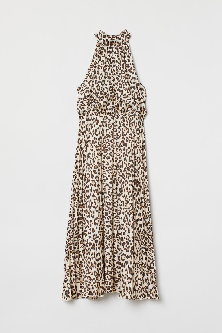 Satin Dress - Beige/leopard print - Ladies | H&M US