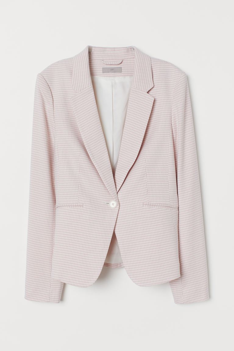 Fitted jacket - Light pink/Dogtooth-patterned - Ladies | H&M IN