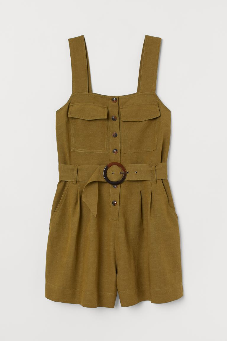 Playsuit with a belt - Khaki green - Ladies | H&M IE