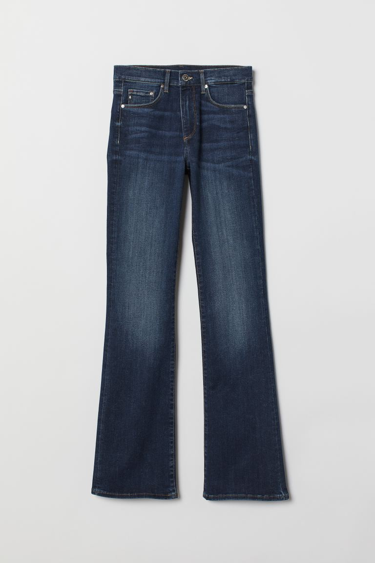 Shaping Bootcut Regular Jeans - Dark denim blue/Washed - Ladies | H&M GB
