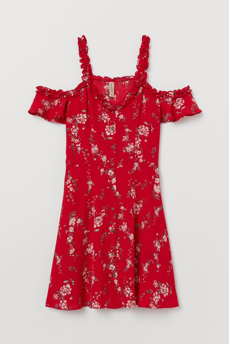 Open-shoulder Dress - Red/floral - Ladies | H&M CA