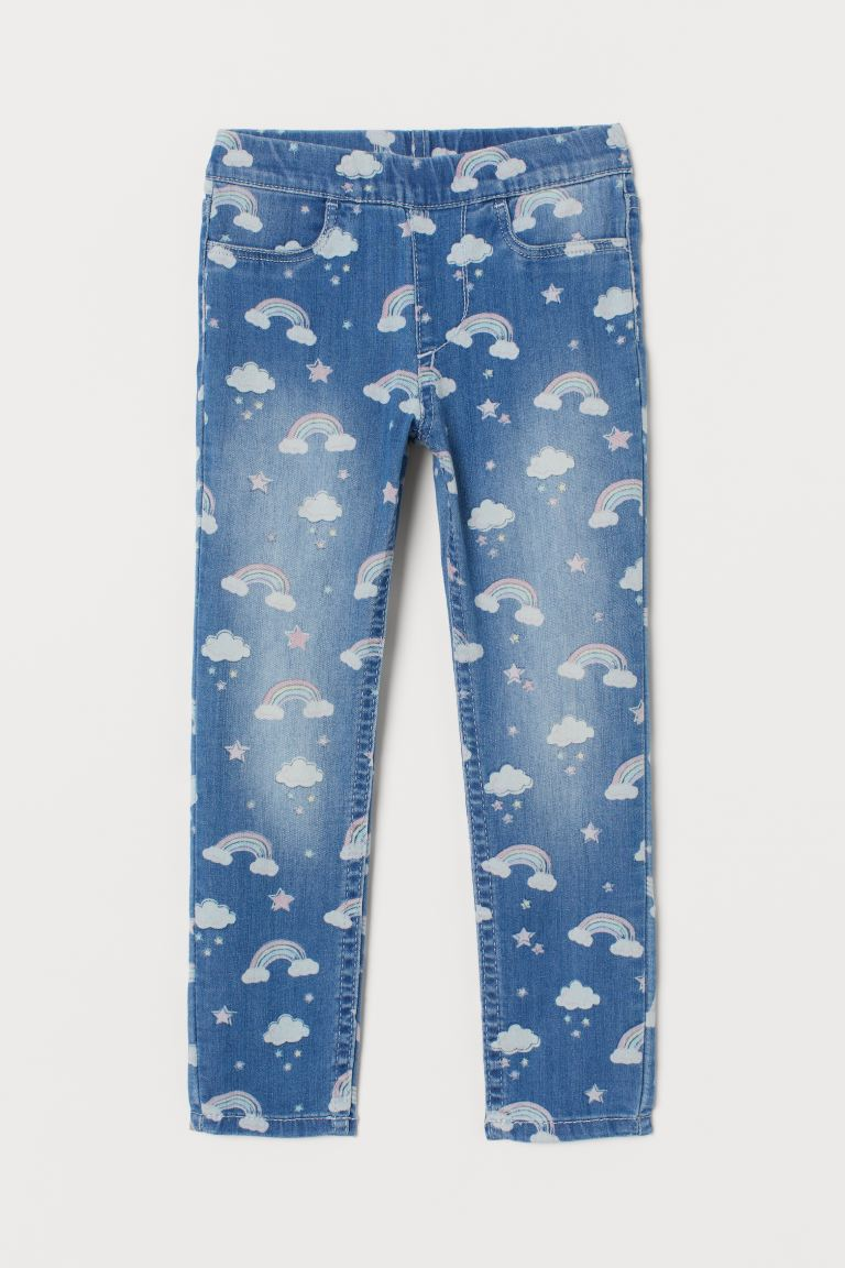 Legging à motif en denim - Bleu denim/arcs-en-ciel - ENFANT | H&M BE