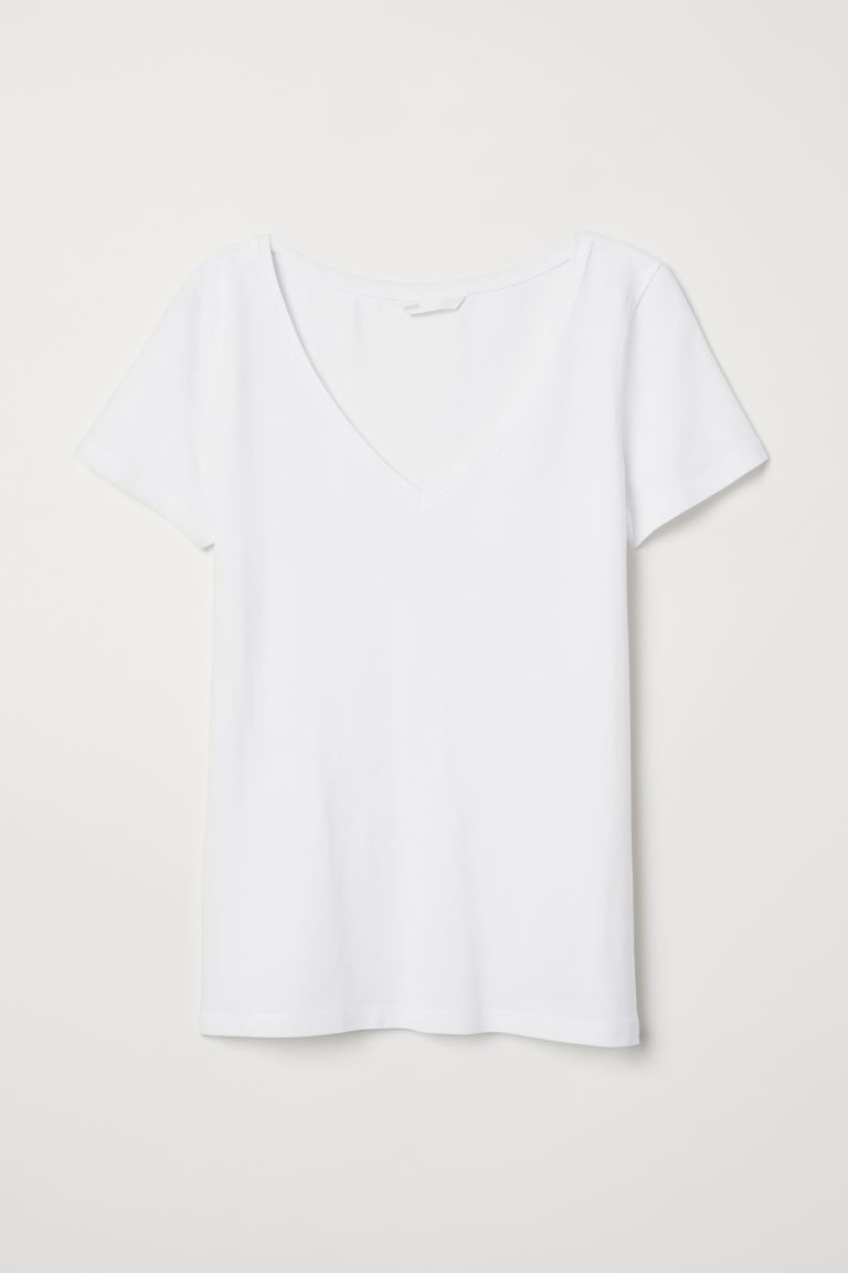 V-neck Jersey Top - White - Ladies | H&M US