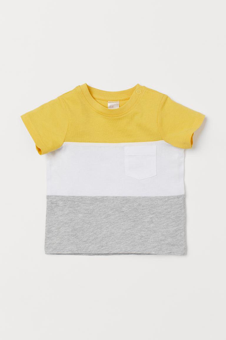 Cotton T-shirt - Yellow/Block-coloured - Kids   H&M GB