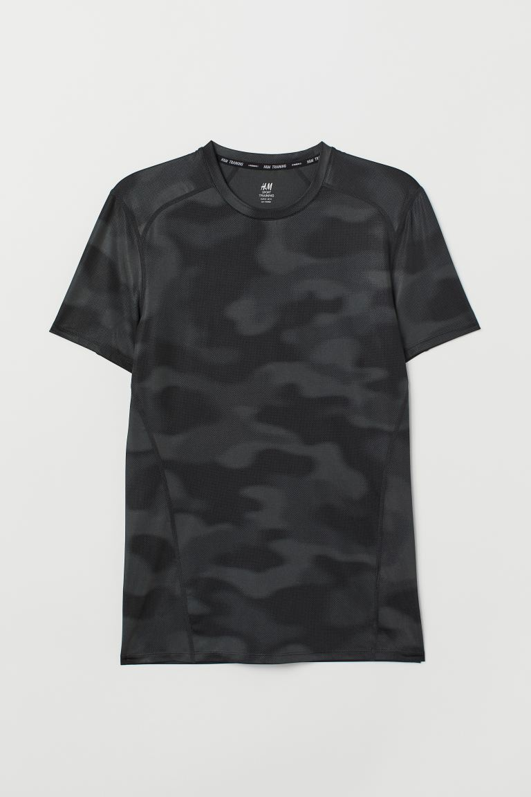 Sports top Slim Fit - Black/Patterned - Men | H&M