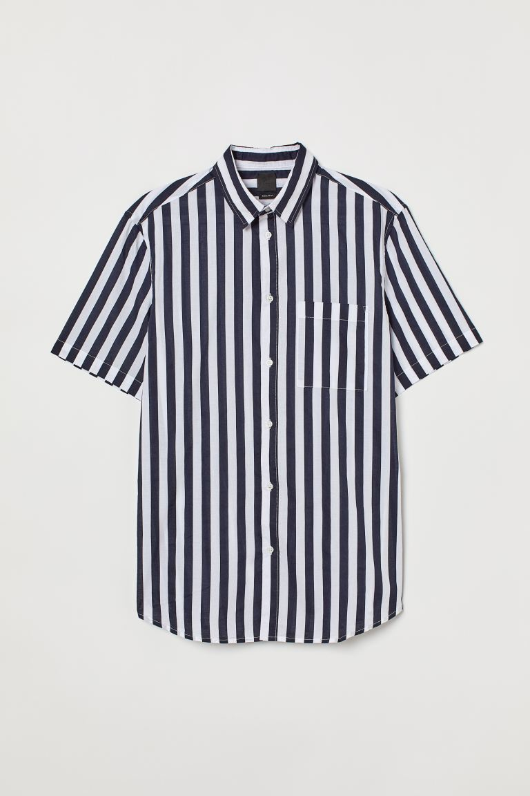 Cotton shirt Regular Fit - Blue/White striped -  | H&M GB