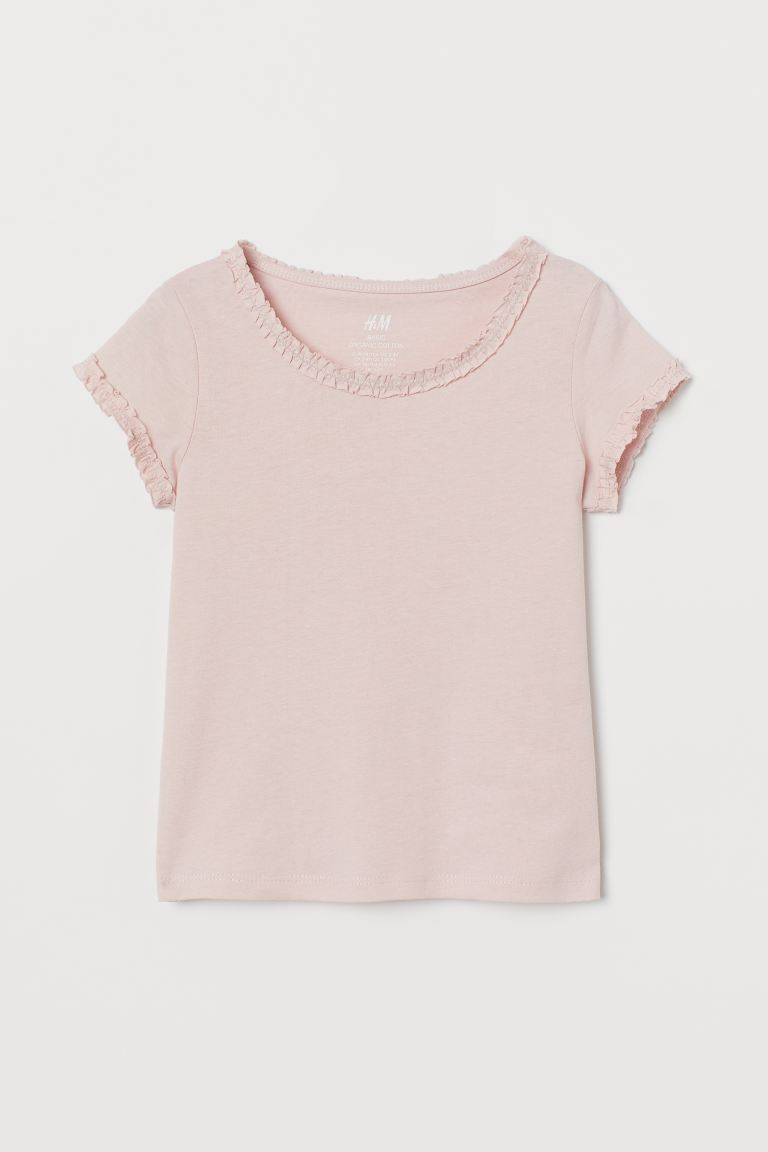 Flounce-trimmed cotton top - Powder pink - Kids | H&M