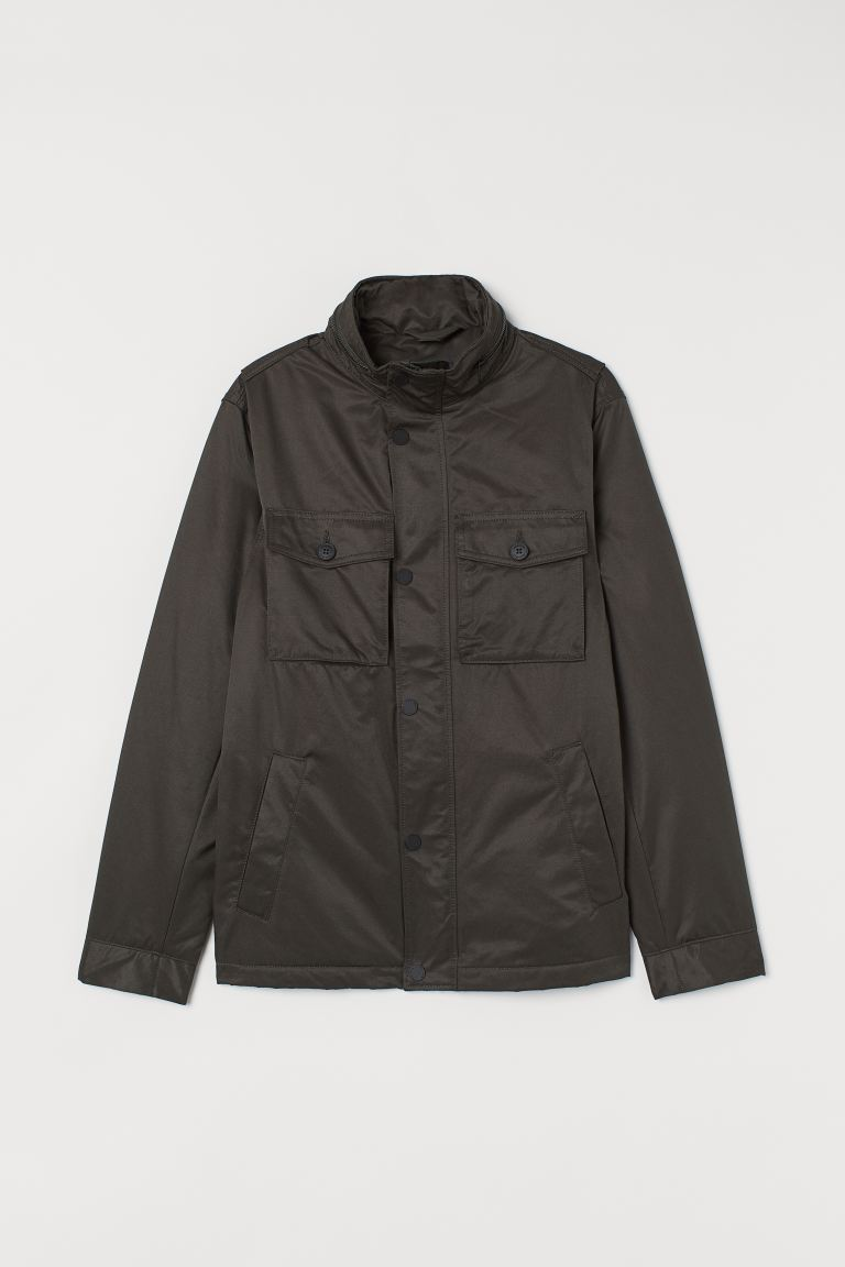 Padded jacket - Dark khaki green - Men | H&M