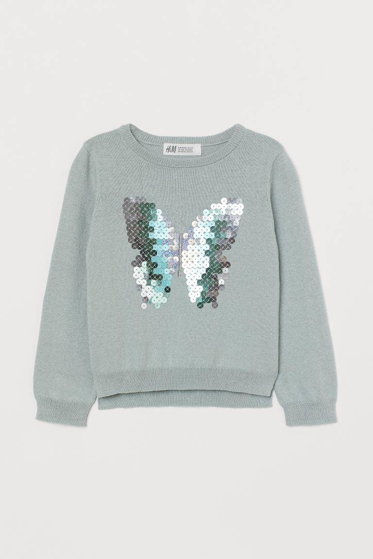 Sequin-motif jumper - Mint green/Butterfly - Kids   H&M GB