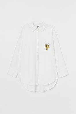 Oversized Oxford shirt - White/Garfield - Ladies | H&M 5