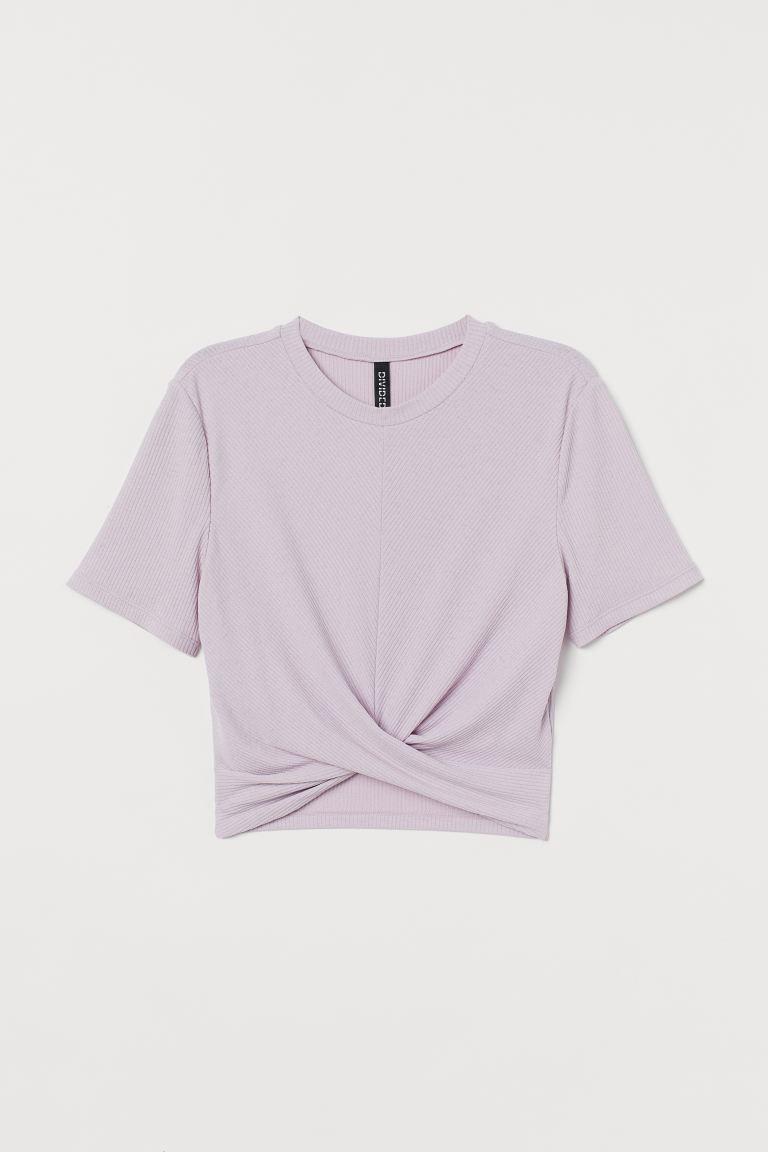 Ribbed Top - Light purple - Ladies | H&M US 4