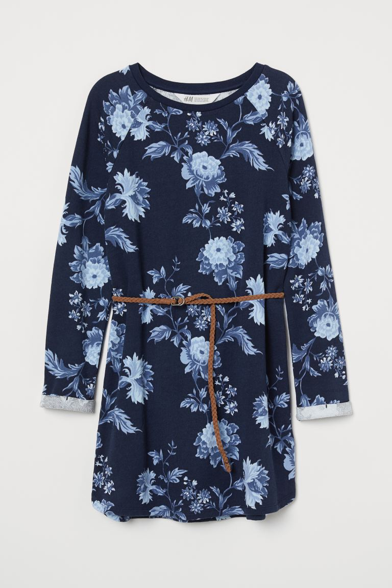 Sweatshirt dress with a belt - Dark blue/Floral -  | H&M GB