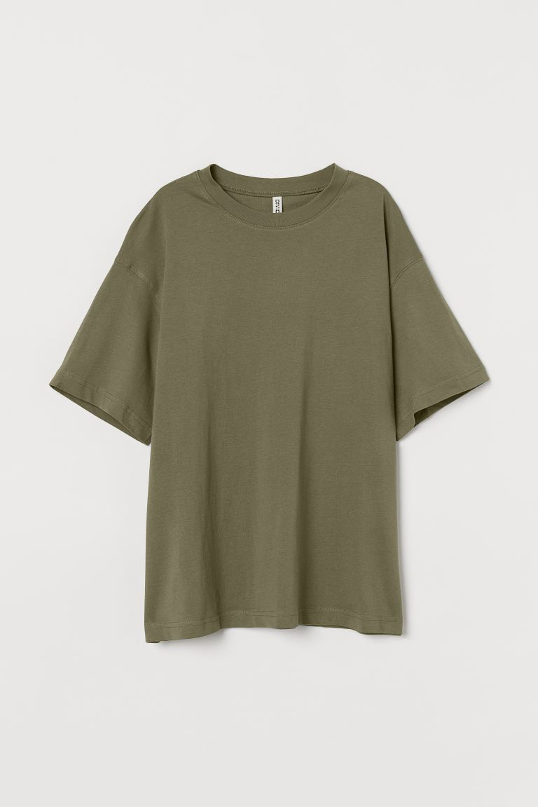 Weites Baumwoll-T-Shirt - Khakigrün - Ladies | H&M AT