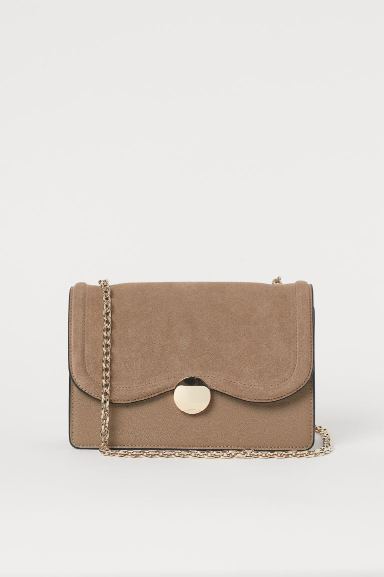 Suede-detail Shoulder Bag - Taupe - Ladies | H&M US