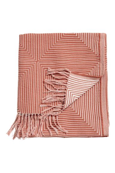 Jacquard-weave blanket - Rust/White - Home All | H&M IE