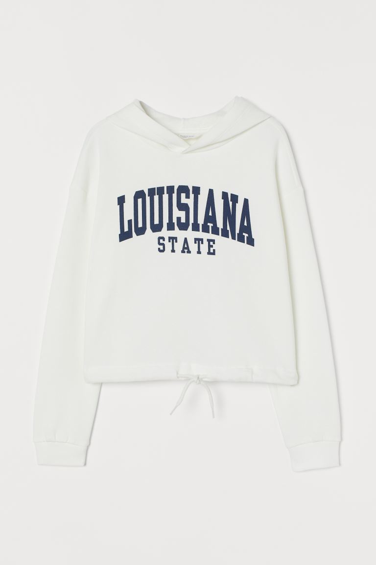 Printed hooded top - White/Louisiana - Kids | H&M IE