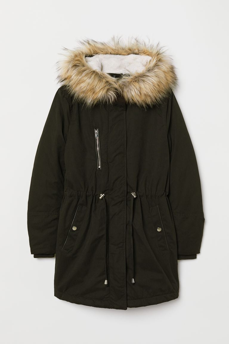 Womens Padded Parka With Fur Hood