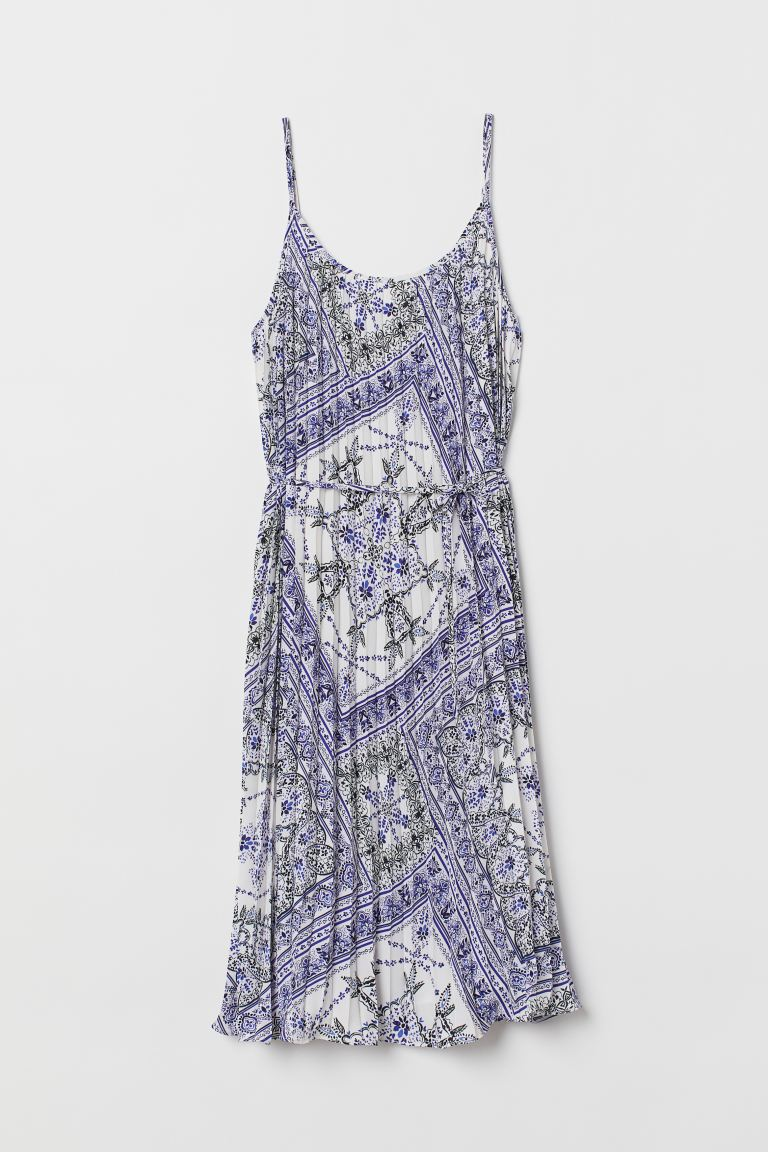 Pleated Dress - White/blue patterned - Ladies | H&M US