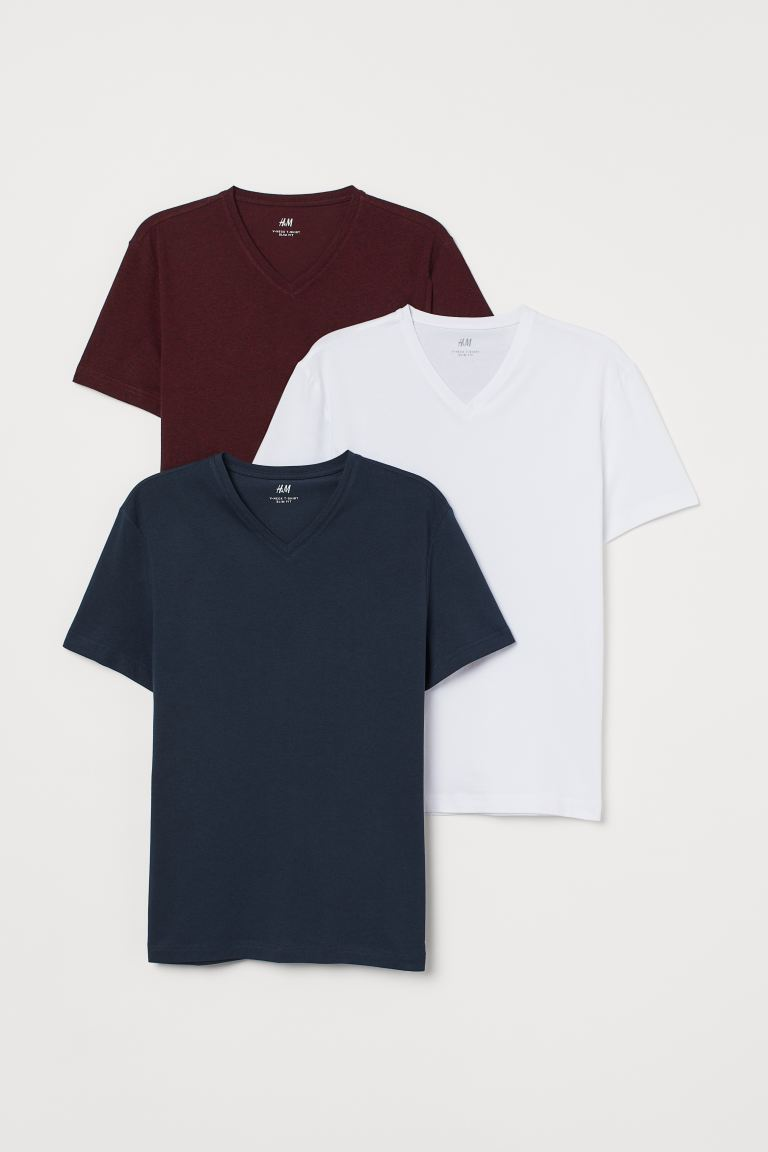 Set van 3 T-shirts - Slim Fit - Bordeauxrood/donkerblauw/wit - HEREN | H&M BE
