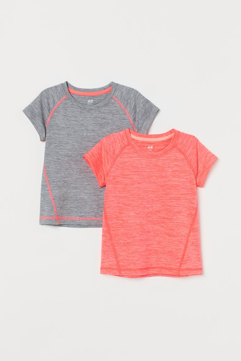 2-pack sports tops - Neon coral/Grey marl - Kids | H&M