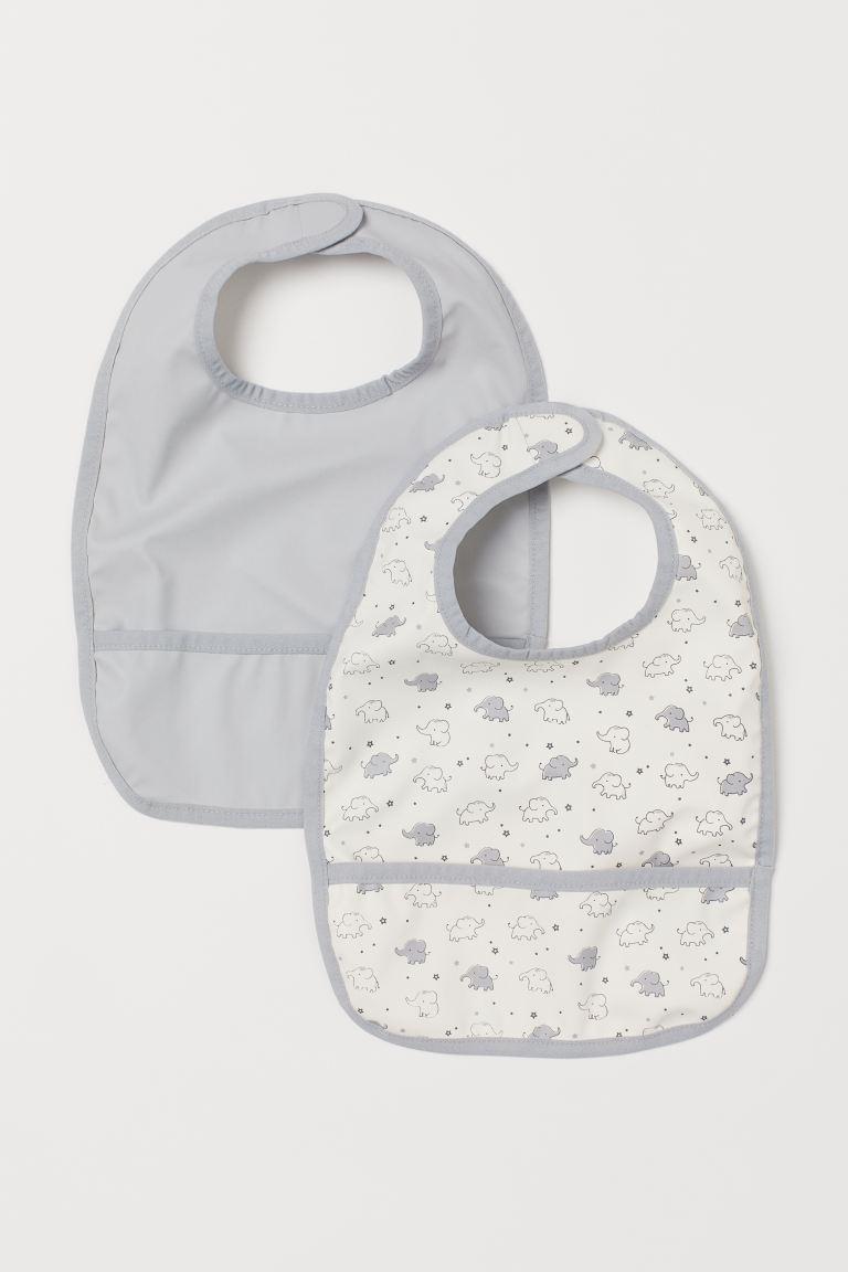 2-pack bibs - Light grey/Elephants -    H&M GB
