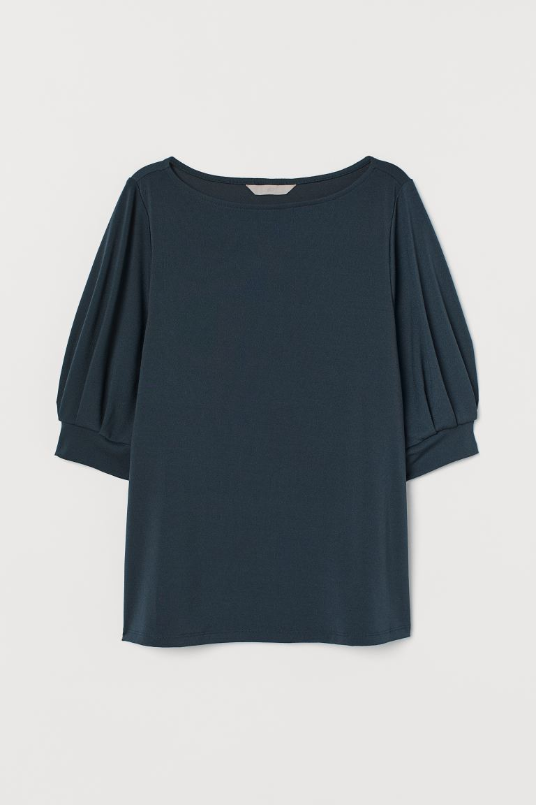 Jersey crêpe top - Petrol - Ladies | H&M GB