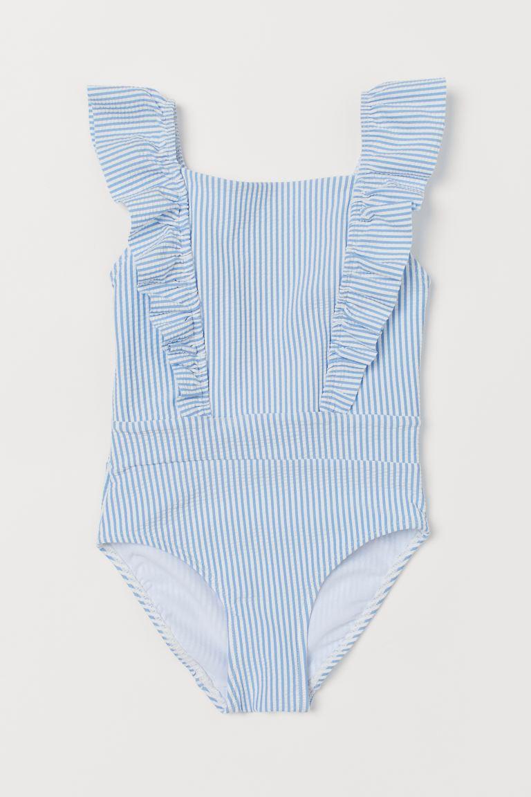 Ruffled Swimsuit - Light blue/striped - Kids | H&M US 1