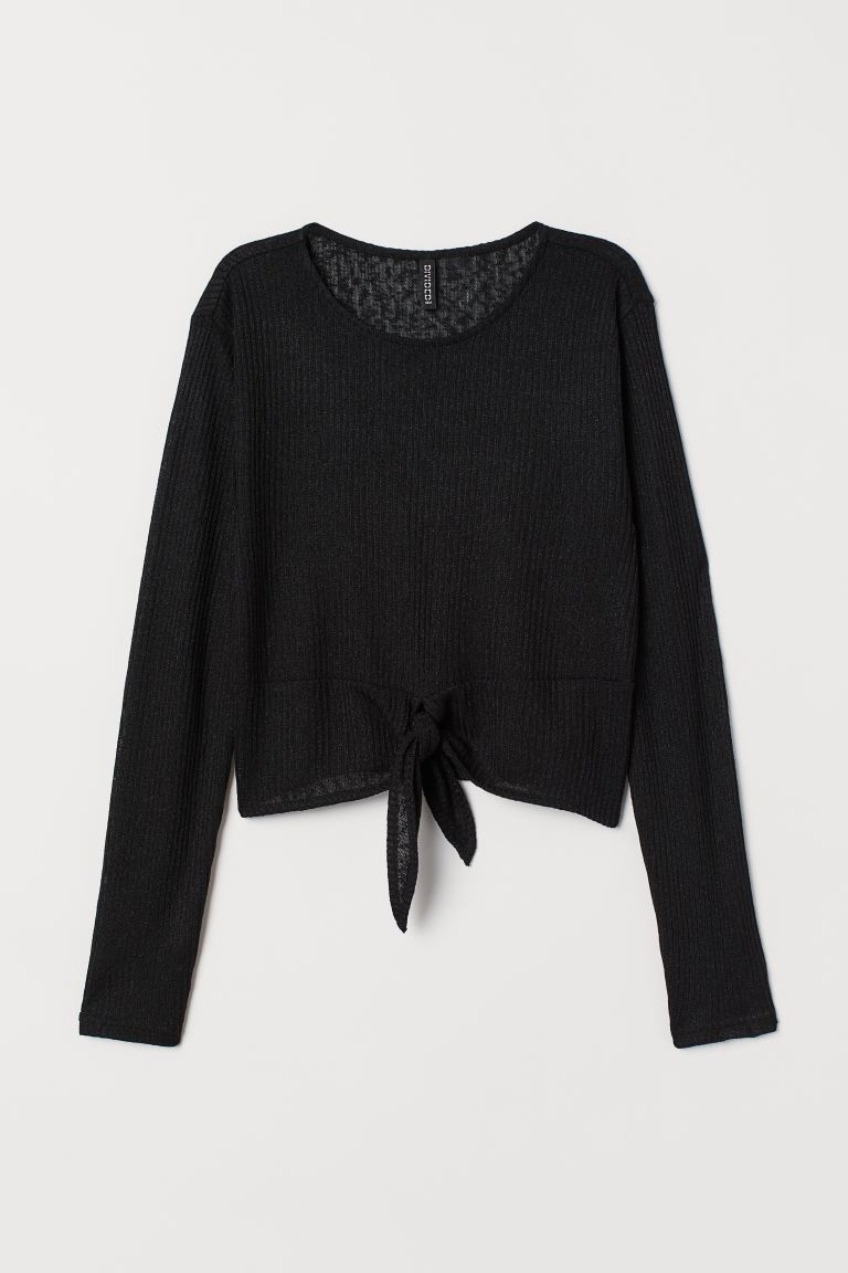 Tie-detail top - Black - Ladies | H&M IN
