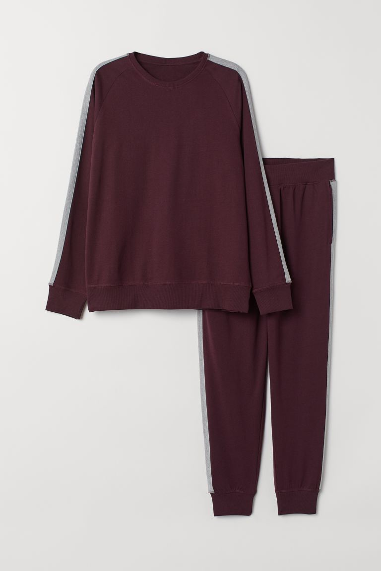 Pyjamas - Burgundy/Grey marl - Men | H&M GB