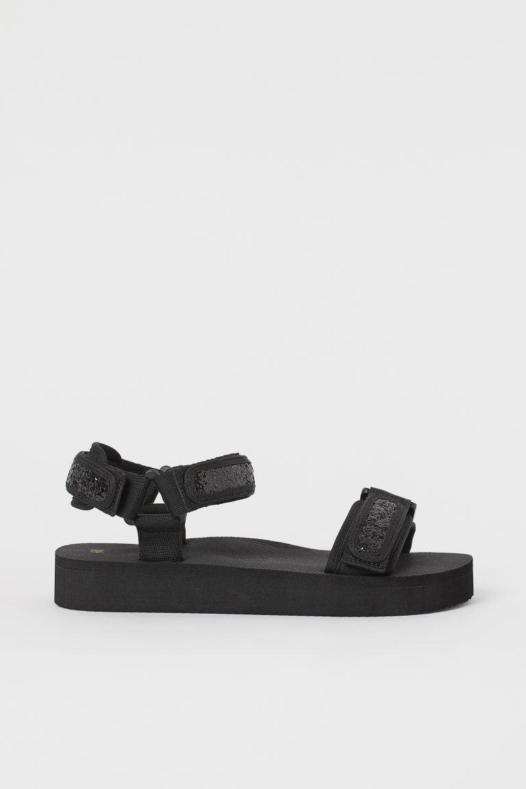 Glittery Sandals - Black/glittery - Ladies | H&M US