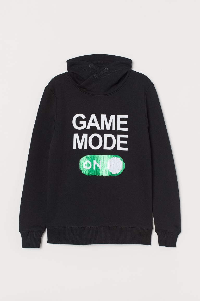 Funnel-collar sweatshirt - Black/Game Mode - Kids   H&M GB