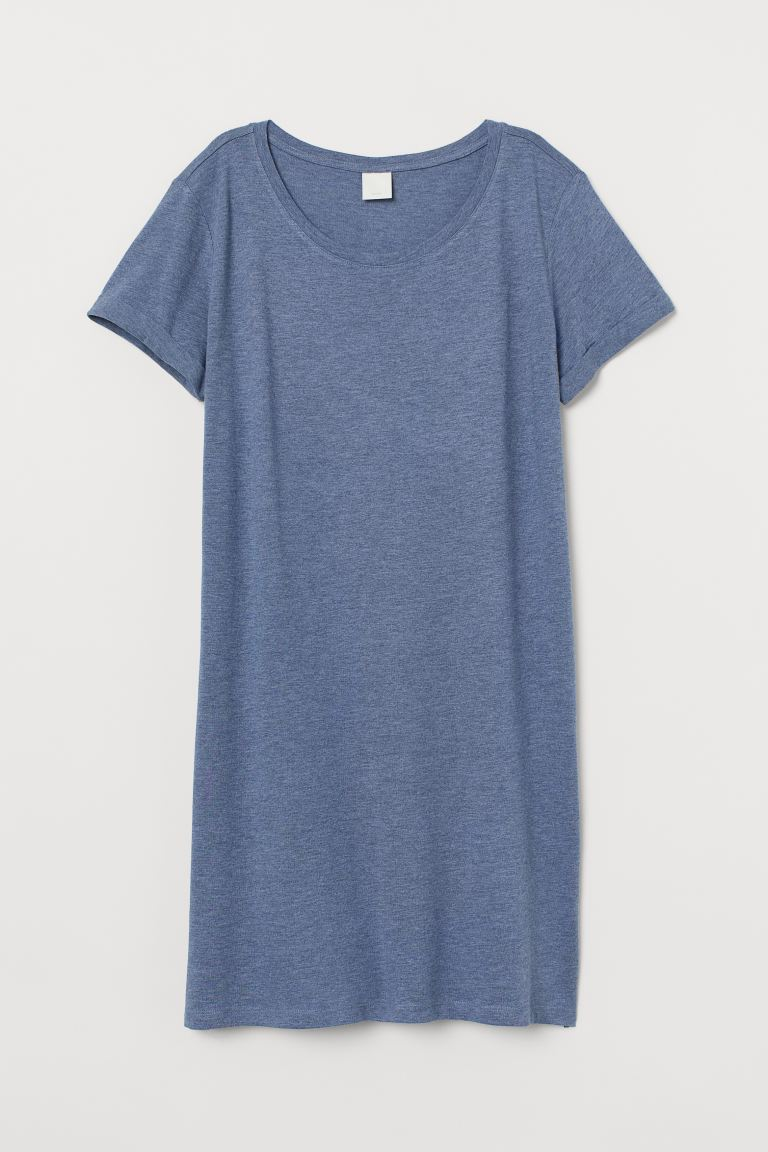 Jersey T-shirt dress - Blue marl - Ladies | H&M