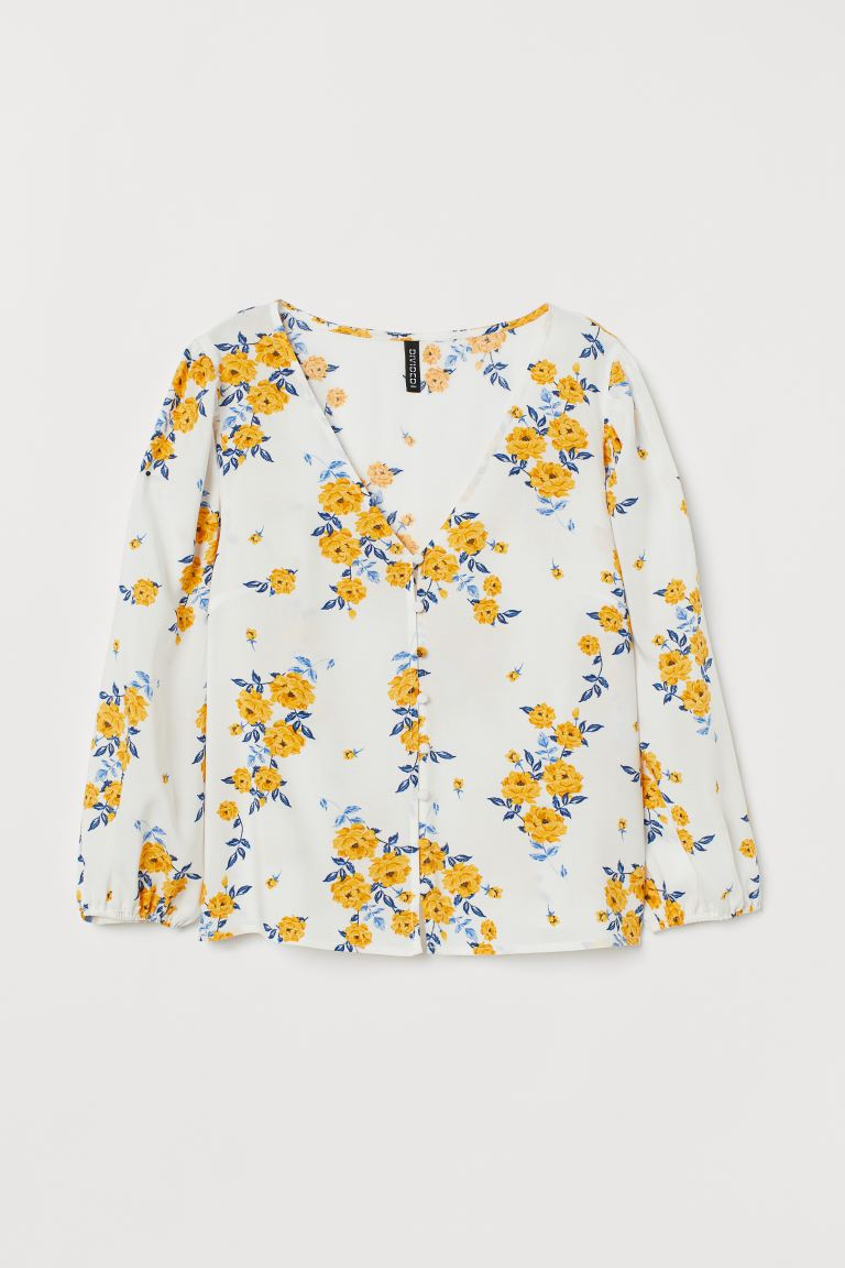 V-neck Blouse - White/floral - Ladies | H&M US