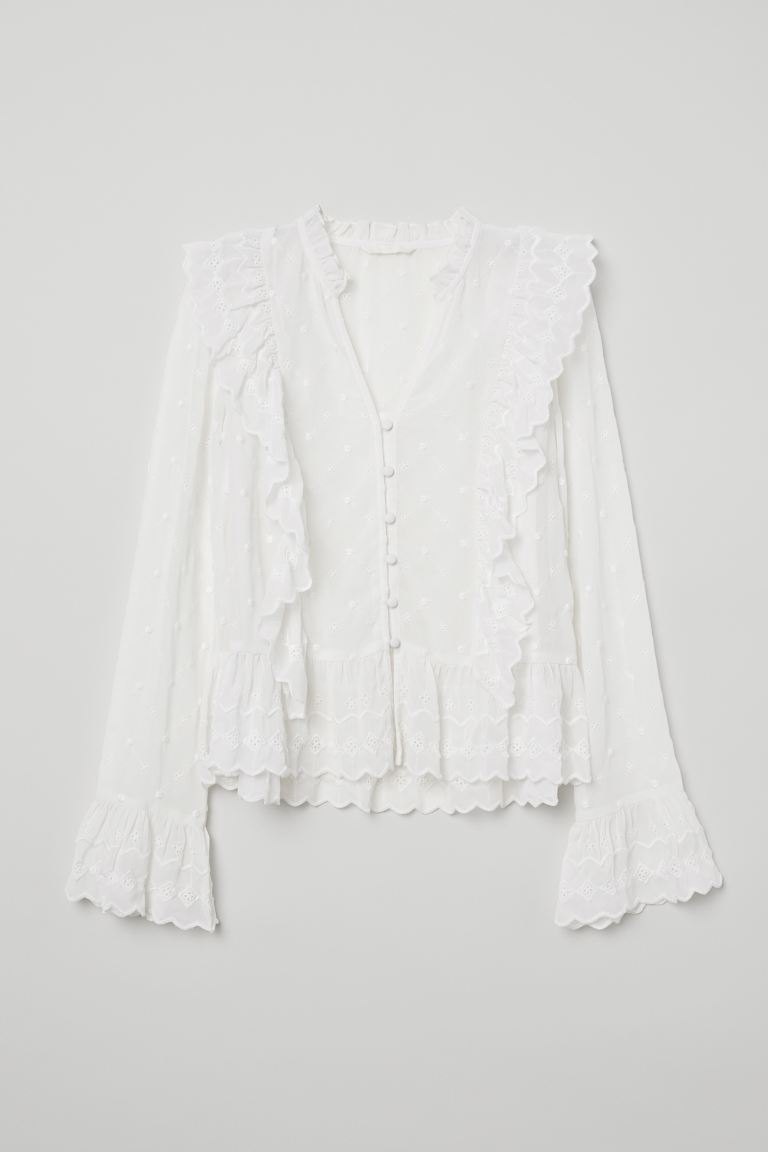 V-neck Buttoned Blouse - White - Ladies | H&M US