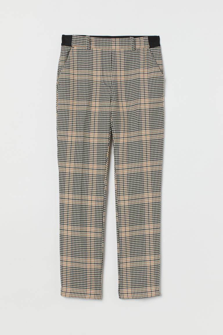 Cigarette trousers - Beige/Black checked -    H&M GB