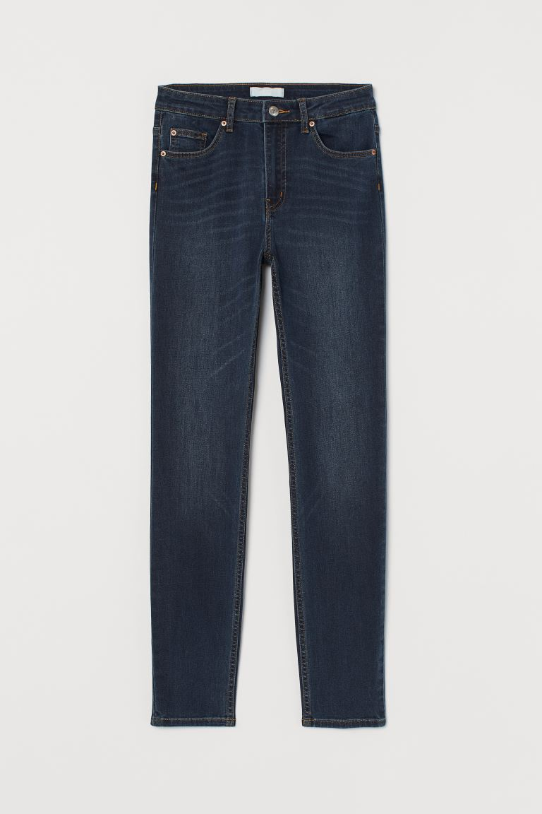 Skinny High Jeans - Dark denim blue/Washed - Ladies | H&M GB