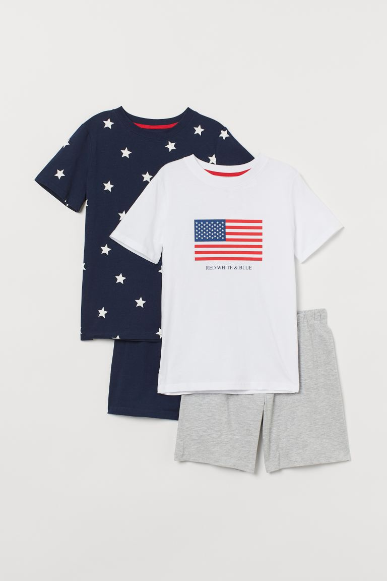 2-pack jersey pyjamas - White/Flag - Kids | H&M
