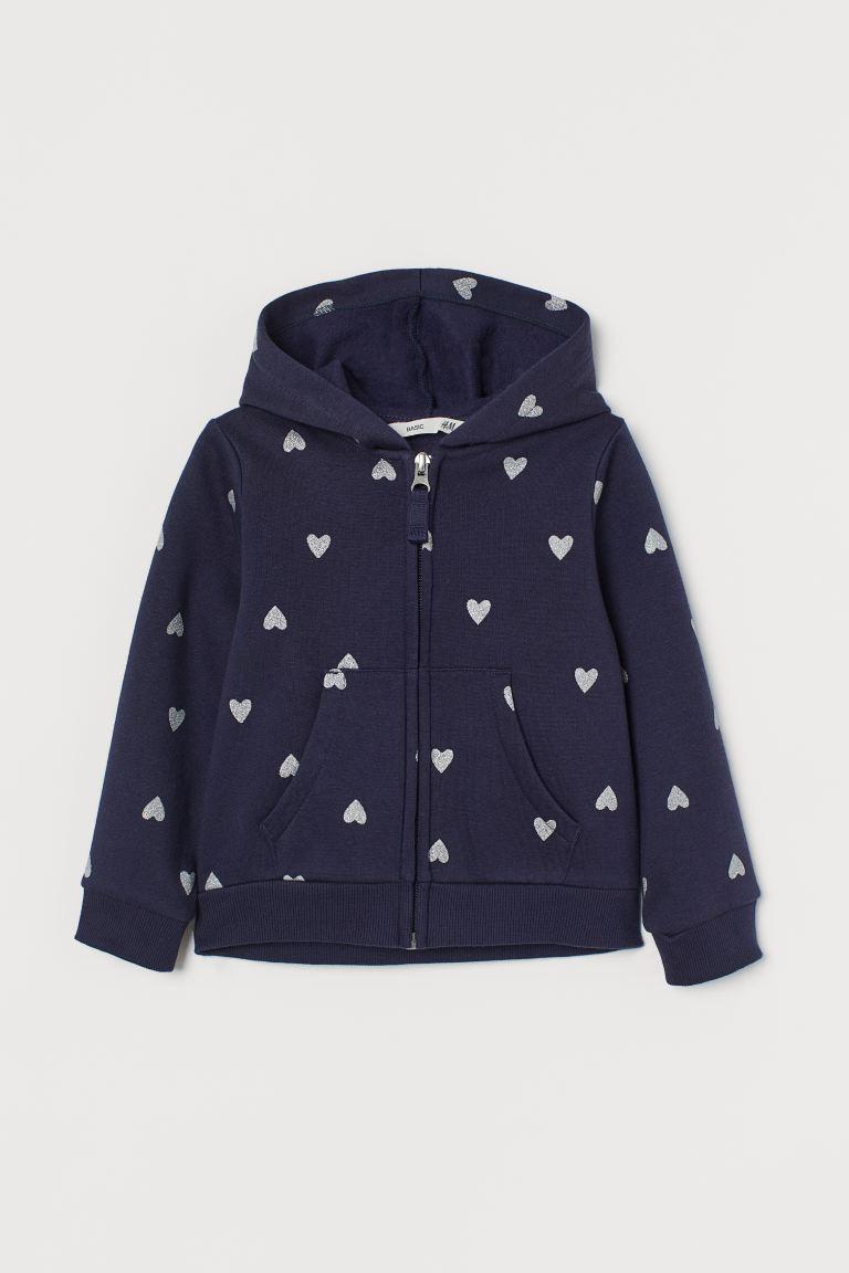 Hooded jacket - Navy blue/Hearts - Kids   H&M GB