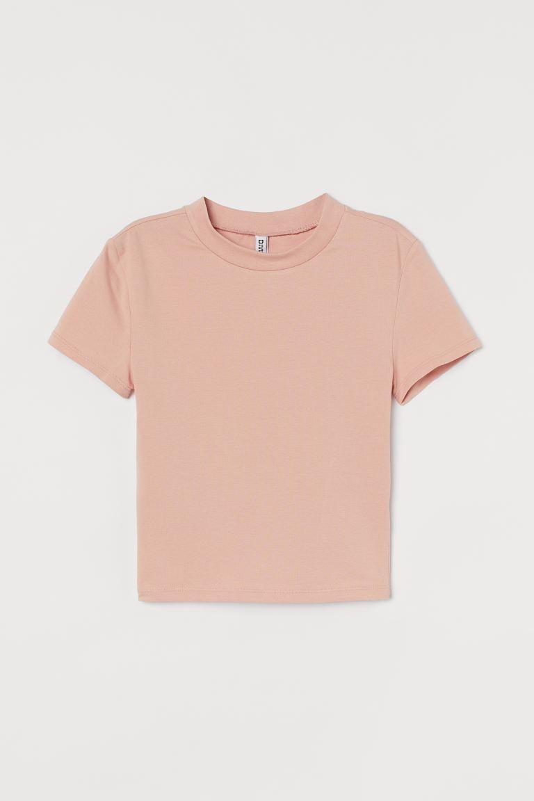 Short T-shirt - Powder pink - Ladies | H&M GB